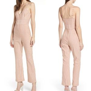 New Leith Tan Adobe Molly Striped Jumpsuit